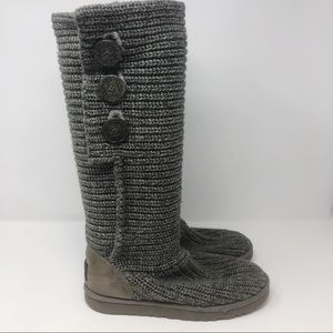 UGG GRAY CLASSIC CARDY KNITTED BOOTS SZ 7